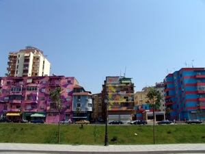 Colorful buildings in Tirana, Albania